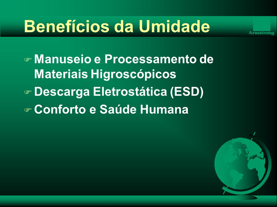 Benefícios da Umidade Manuseio e Processamento de Materiais Higroscópicos. Descarga Eletrostática (ESD)