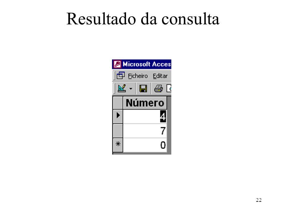 Resultado da consulta