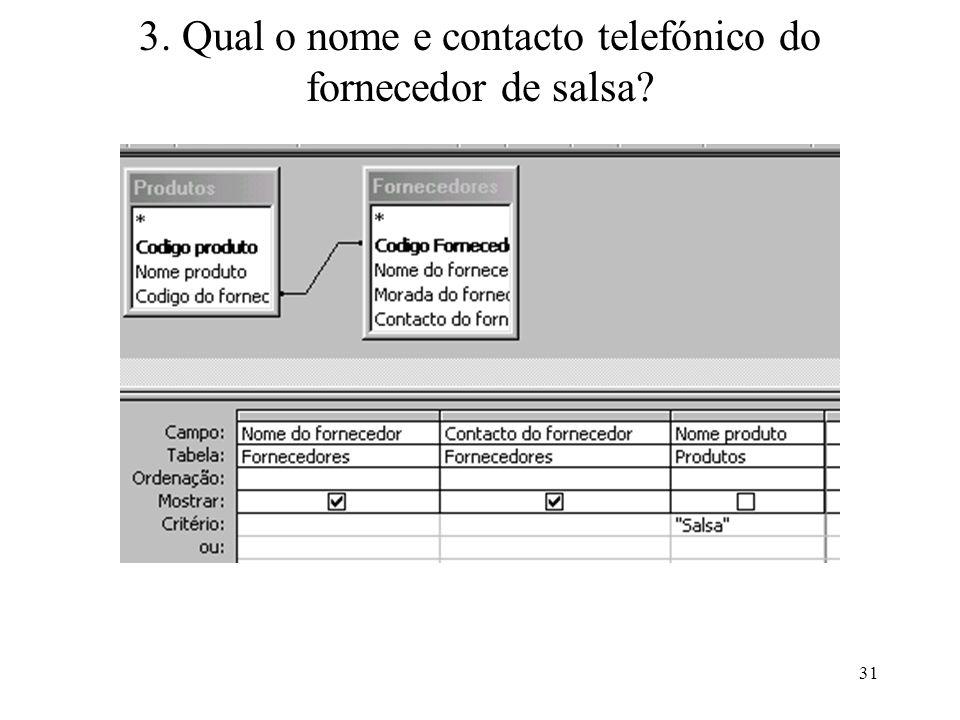 3. Qual o nome e contacto telefónico do fornecedor de salsa