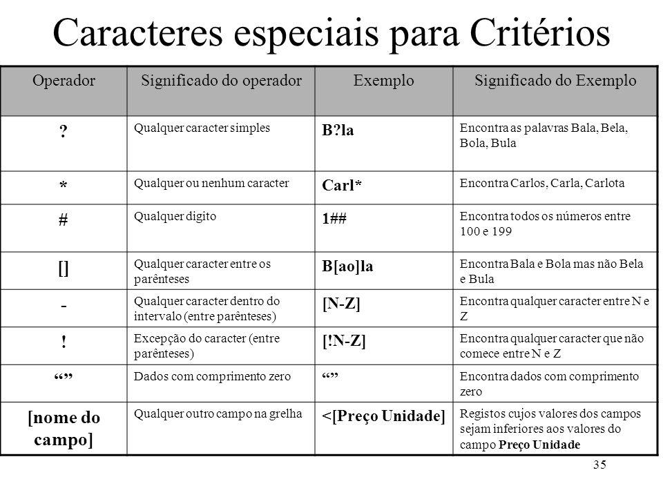 Caracteres especiais para Critérios