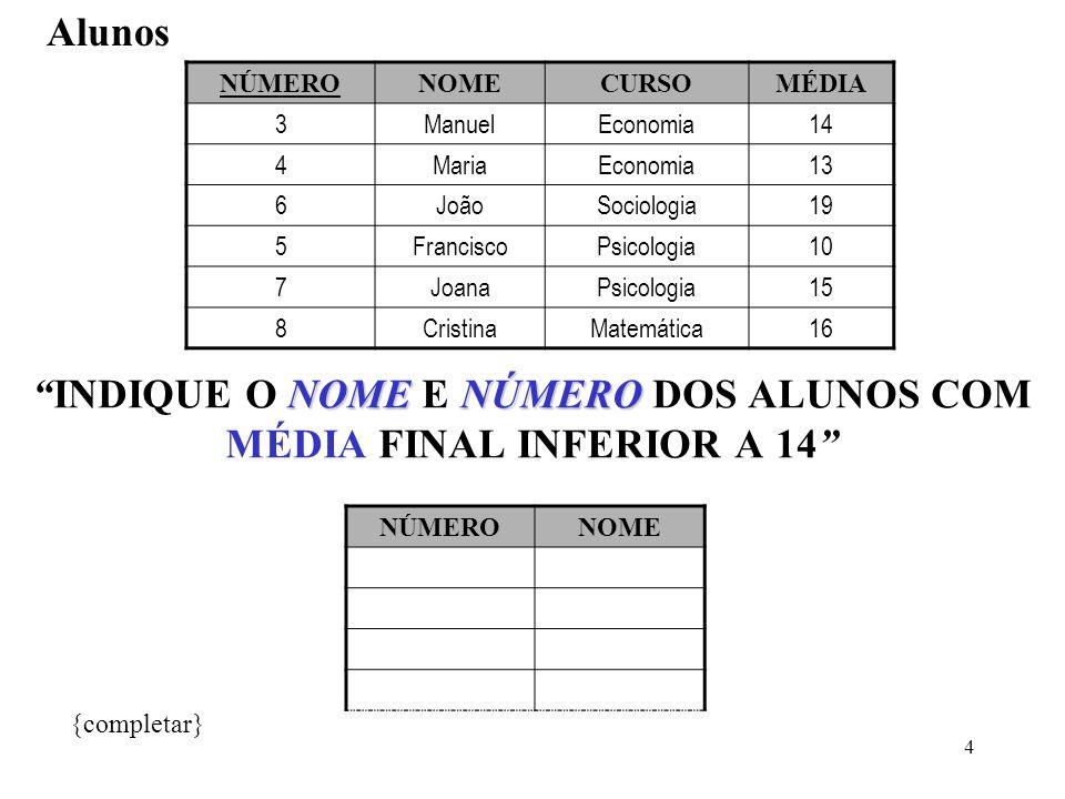 INDIQUE O NOME E NÚMERO DOS ALUNOS COM MÉDIA FINAL INFERIOR A 14