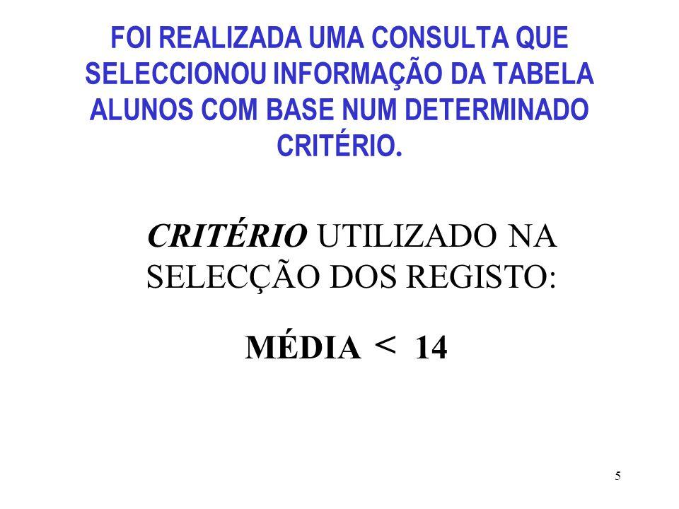 CRITÉRIO UTILIZADO NA SELECÇÃO DOS REGISTO: