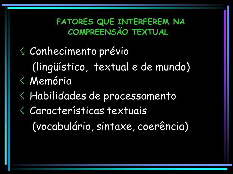 FATORES QUE INTERFEREM NA COMPREENSÃO TEXTUAL