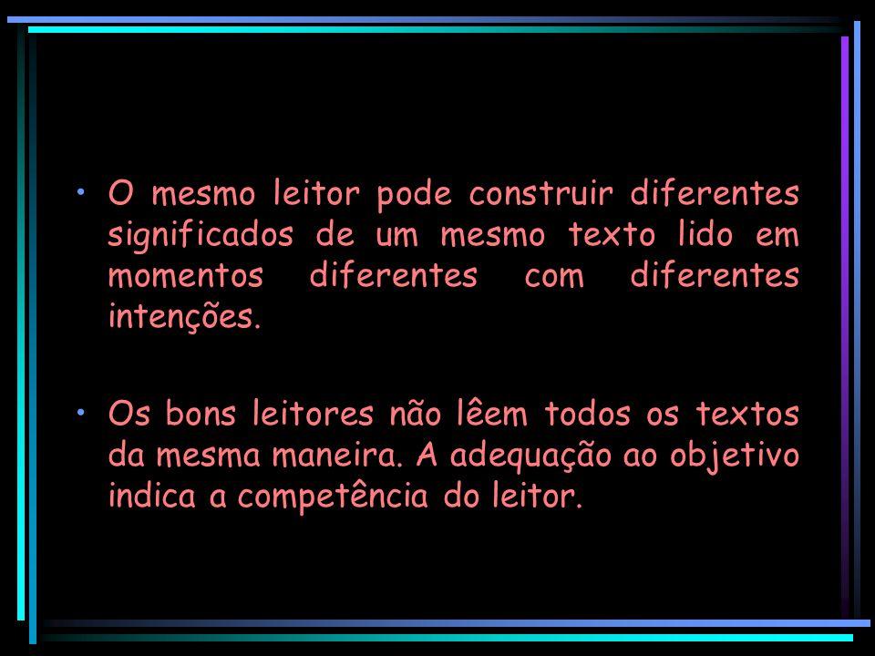 O mesmo leitor pode construir diferentes significados de um mesmo texto lido em momentos diferentes com diferentes intenções.