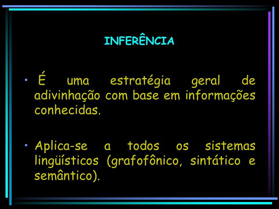 INFERÊNCIA É uma estratégia geral de adivinhação com base em informações conhecidas.