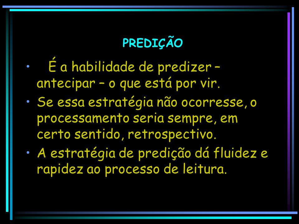 PREDIÇÃO É a habilidade de predizer – antecipar – o que está por vir.