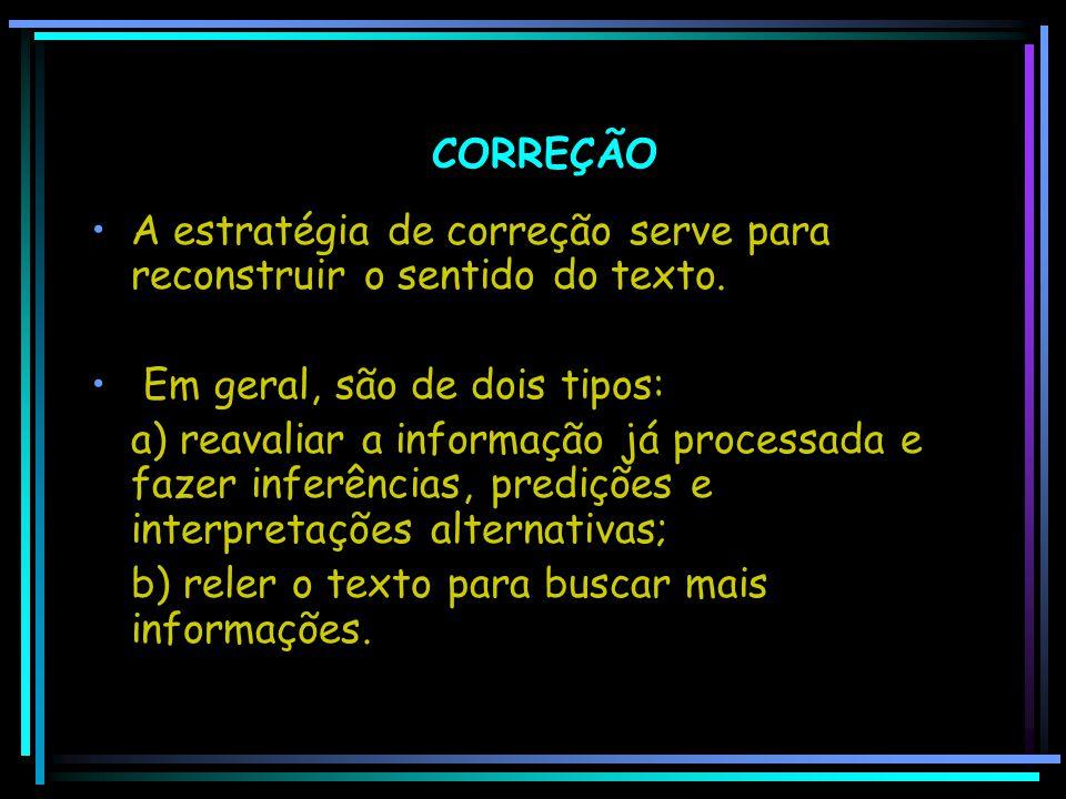 CORREÇÃO A estratégia de correção serve para reconstruir o sentido do texto. Em geral, são de dois tipos: