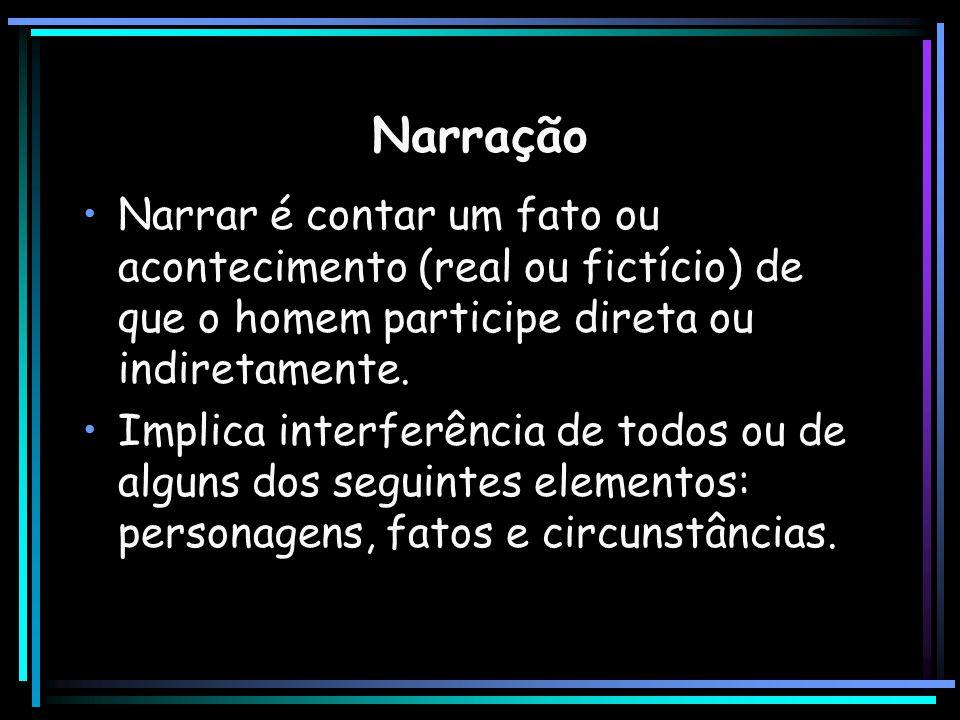 Narração Narrar é contar um fato ou acontecimento (real ou fictício) de que o homem participe direta ou indiretamente.