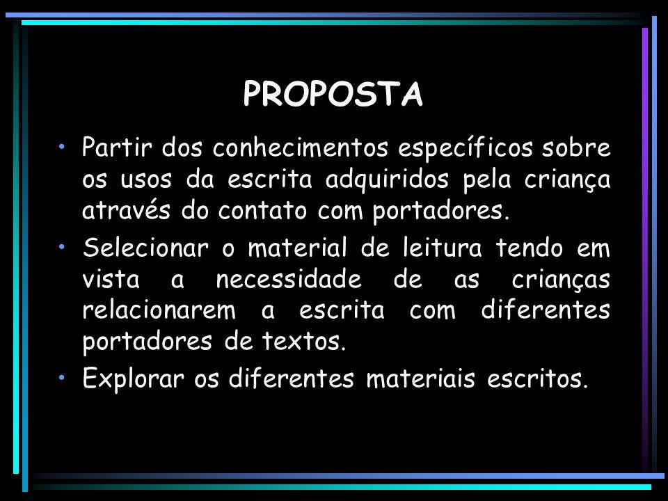 PROPOSTA Partir dos conhecimentos específicos sobre os usos da escrita adquiridos pela criança através do contato com portadores.