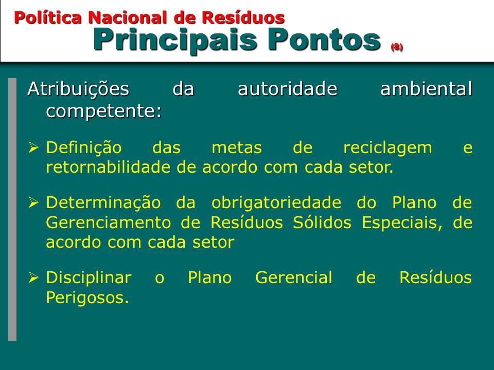 Principais Pontos (8) Atribuições da autoridade ambiental competente: