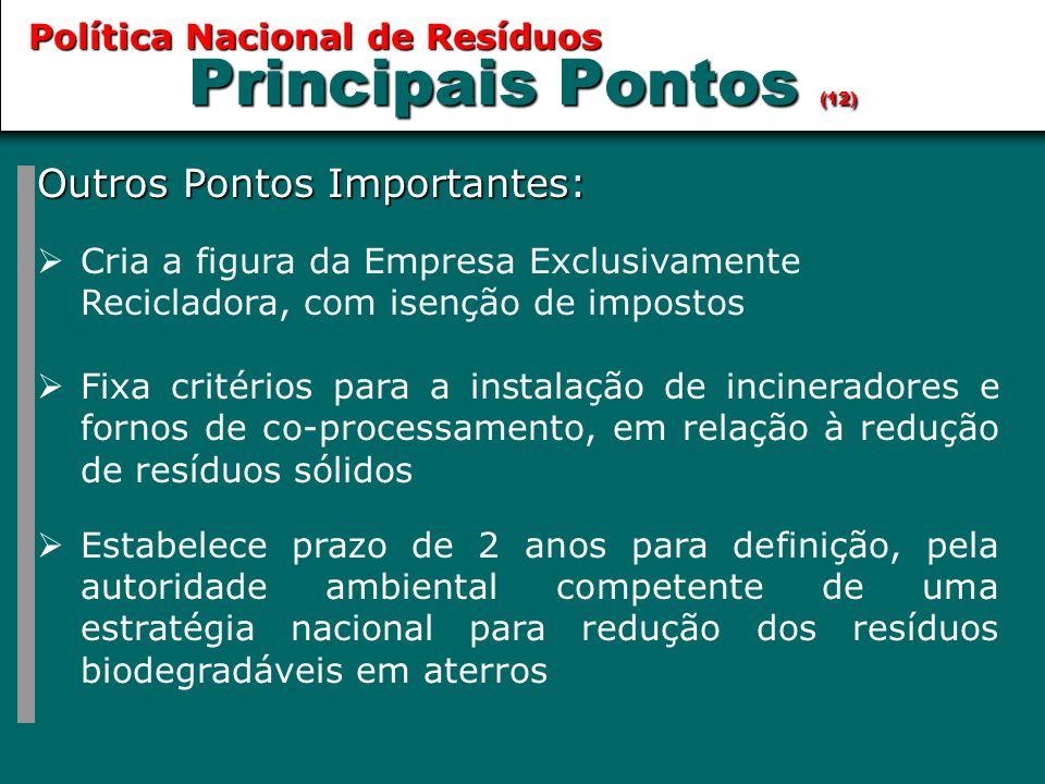 Principais Pontos (12) Outros Pontos Importantes: