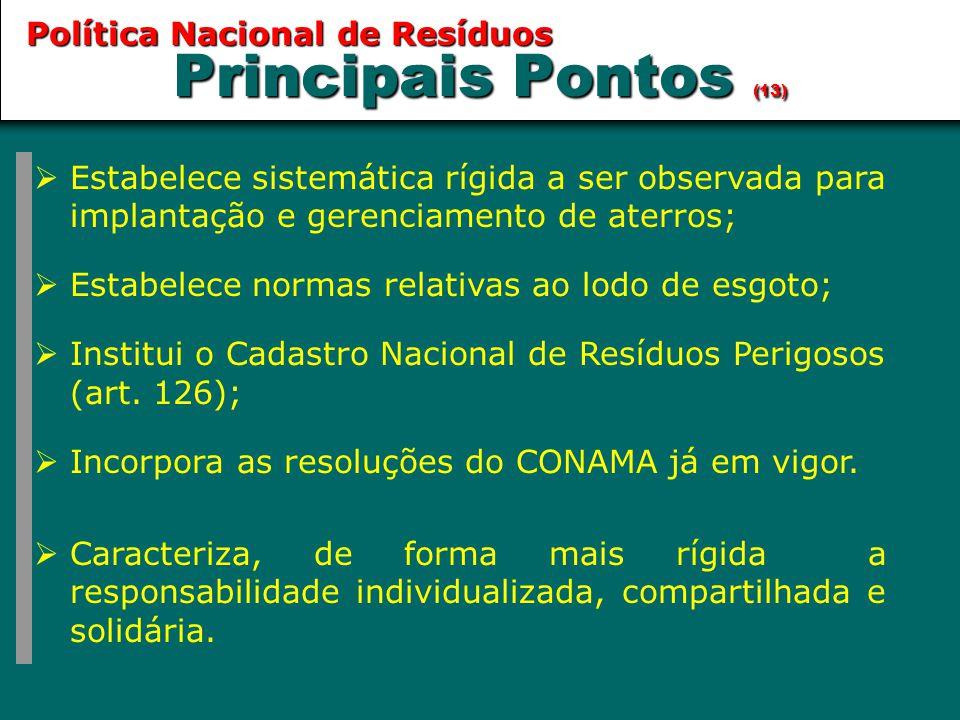Principais Pontos (13) Política Nacional de Resíduos