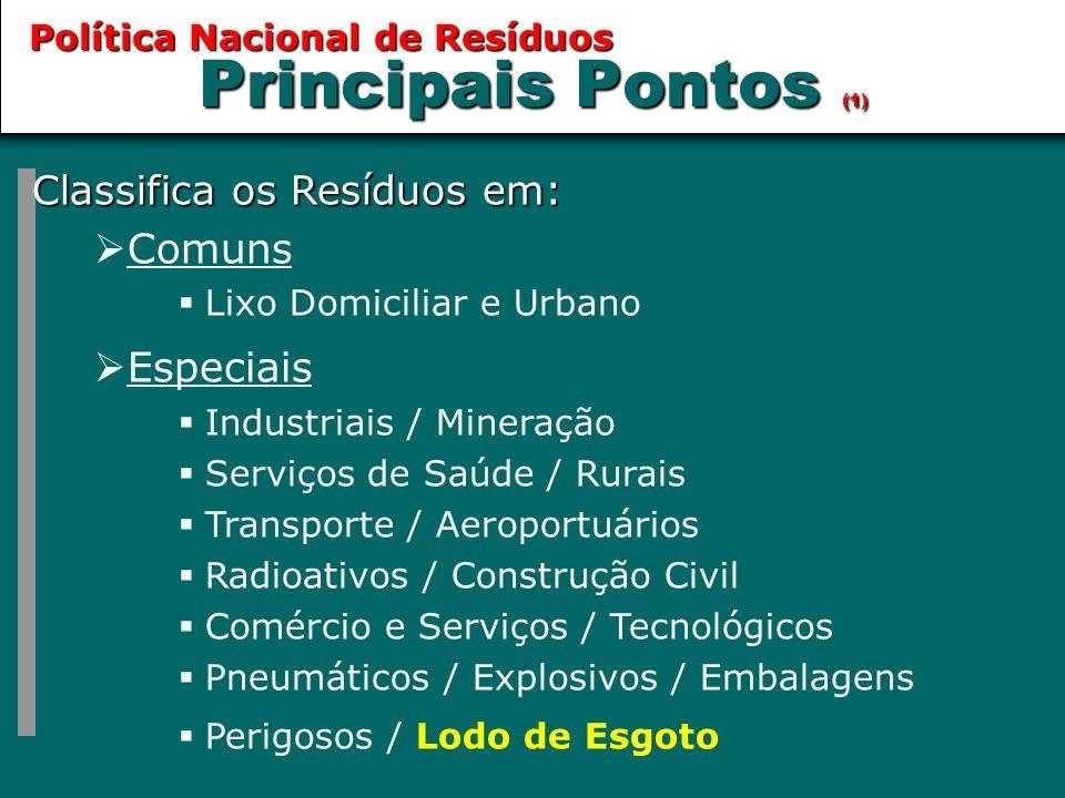 Principais Pontos (1) Comuns Especiais Classifica os Resíduos em: