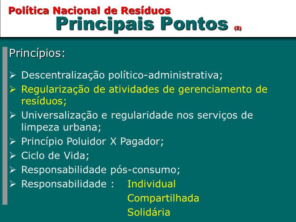 Principais Pontos (2) Princípios: Política Nacional de Resíduos