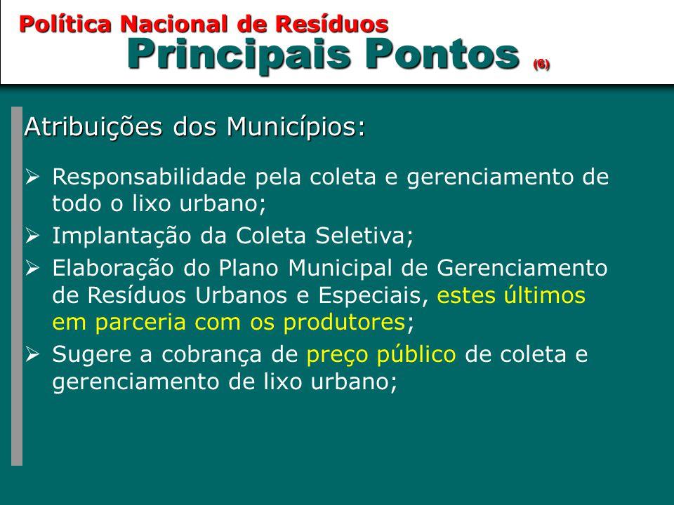 Principais Pontos (6) Atribuições dos Municípios: