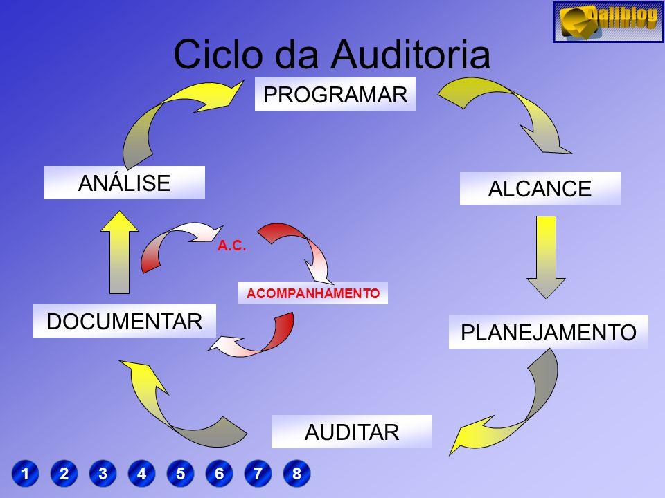 Ciclo da Auditoria PROGRAMAR ANÁLISE ALCANCE DOCUMENTAR PLANEJAMENTO