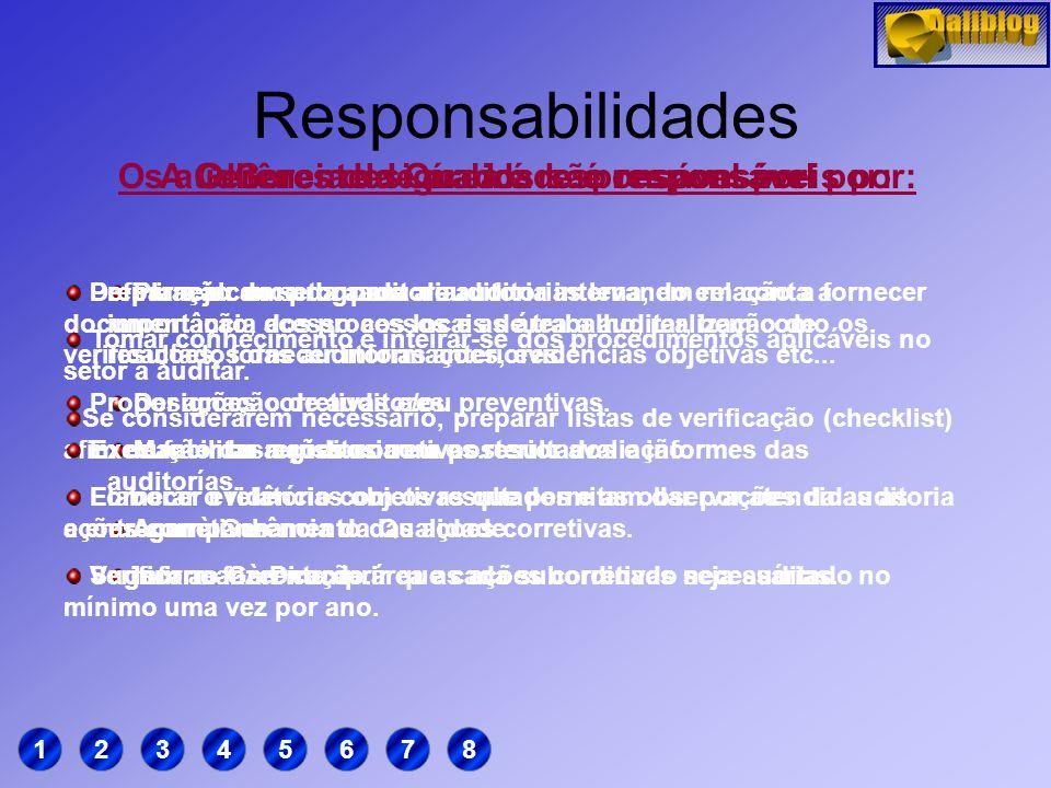 Responsabilidades Os auditores designados são responsáveis por: