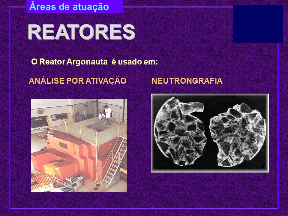 REATORES Áreas de atuação O Reator Argonauta é usado em: