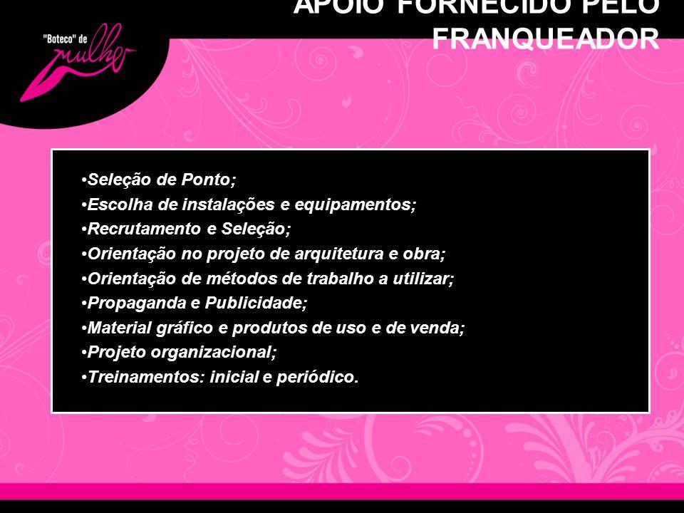 APOIO FORNECIDO PELO FRANQUEADOR