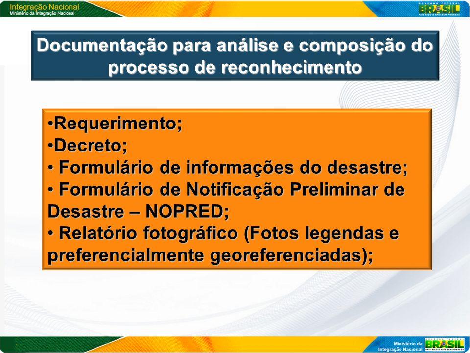 Documentação para análise e composição do processo de reconhecimento