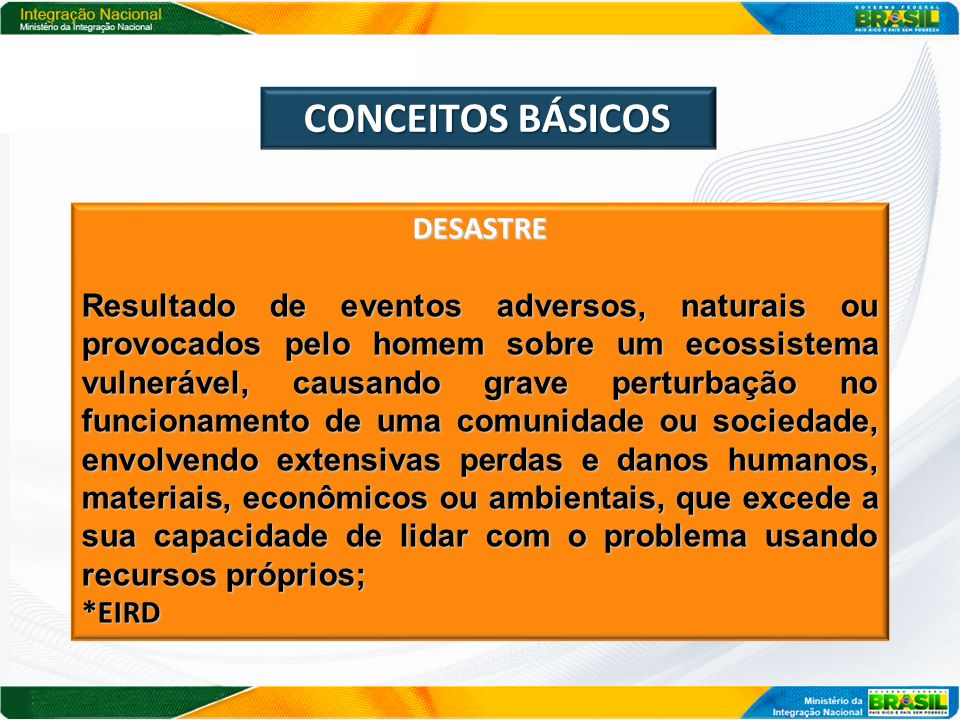CONCEITOS BÁSICOS DESASTRE