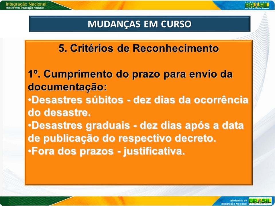 5. Critérios de Reconhecimento
