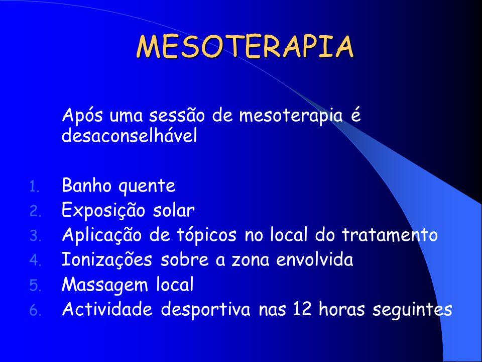MESOTERAPIA Após uma sessão de mesoterapia é desaconselhável