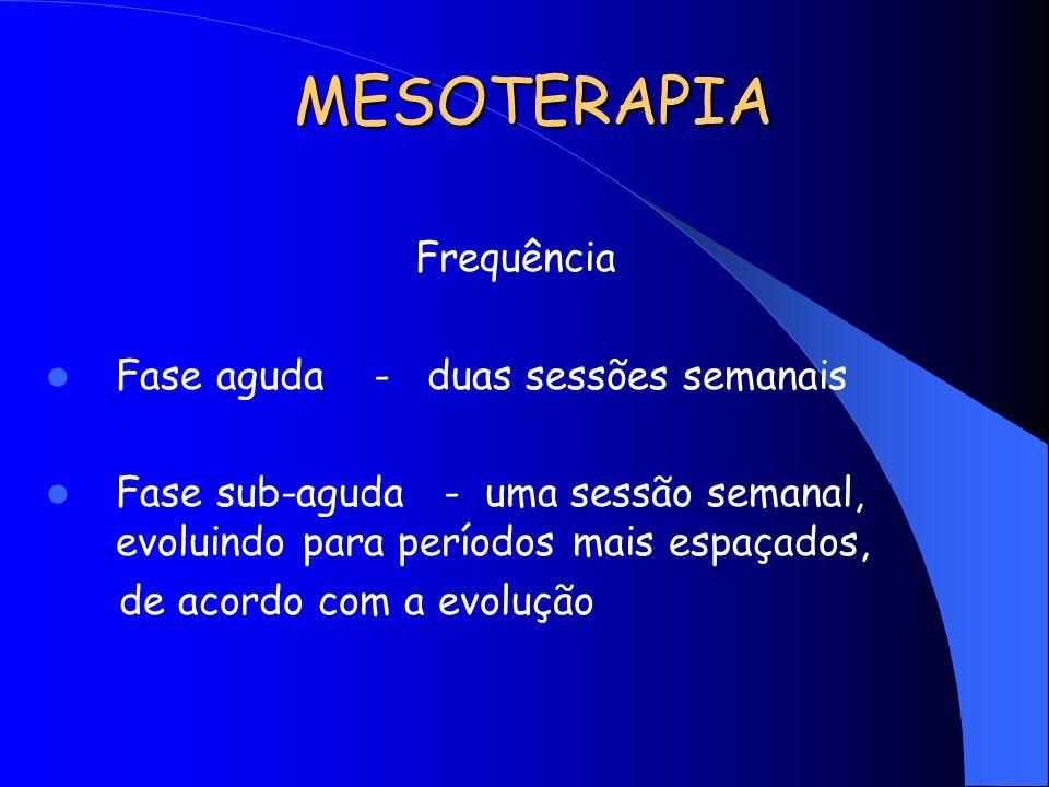 MESOTERAPIA Frequência Fase aguda - duas sessões semanais