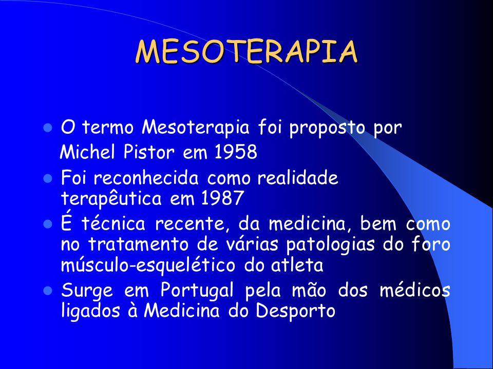MESOTERAPIA O termo Mesoterapia foi proposto por Michel Pistor em 1958