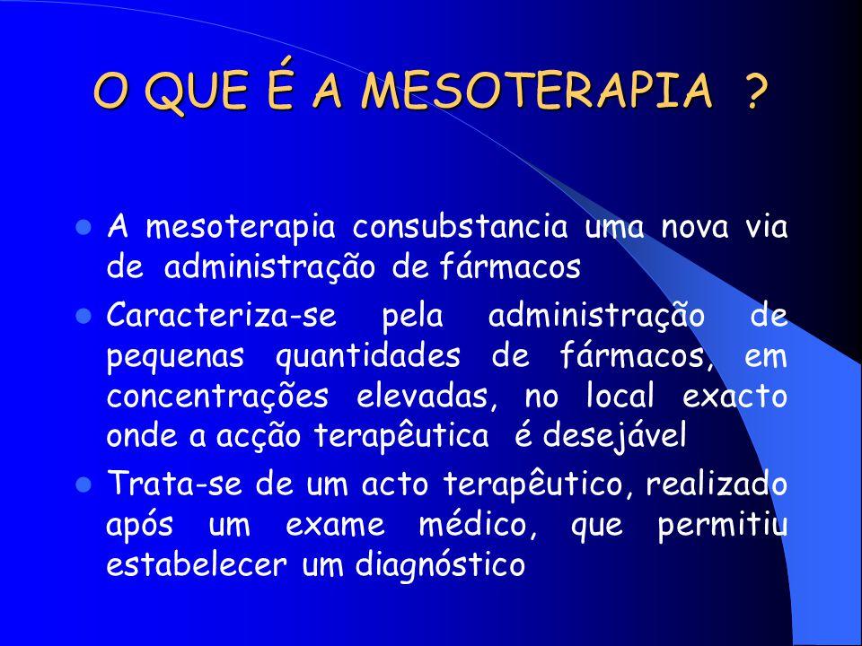 O QUE É A MESOTERAPIA A mesoterapia consubstancia uma nova via de administração de fármacos.