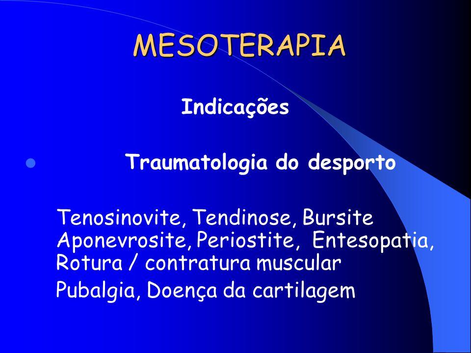 MESOTERAPIA Indicações Traumatologia do desporto