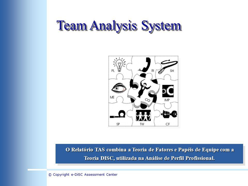 Team Analysis System O Relatório TAS combina a Teoria de Fatores e Papéis de Equipe com a Teoria DISC, utilizada na Análise de Perfil Profissional.
