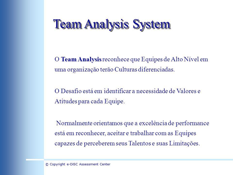 Team Analysis System O Team Analysis reconhece que Equipes de Alto Nível em uma organização terão Culturas diferenciadas.