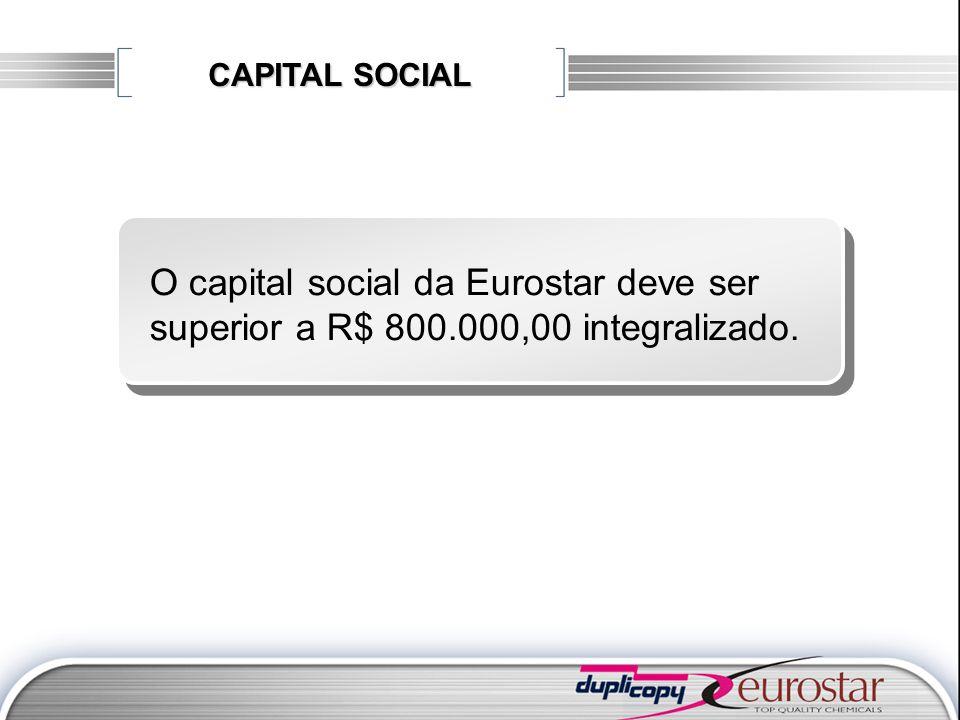 CAPITAL SOCIAL O capital social da Eurostar deve ser superior a R$ 800.000,00 integralizado.