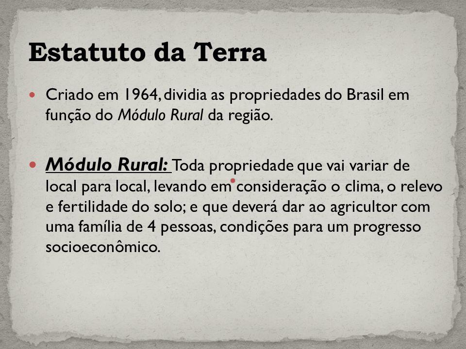 Estatuto da Terra Criado em 1964, dividia as propriedades do Brasil em função do Módulo Rural da região.
