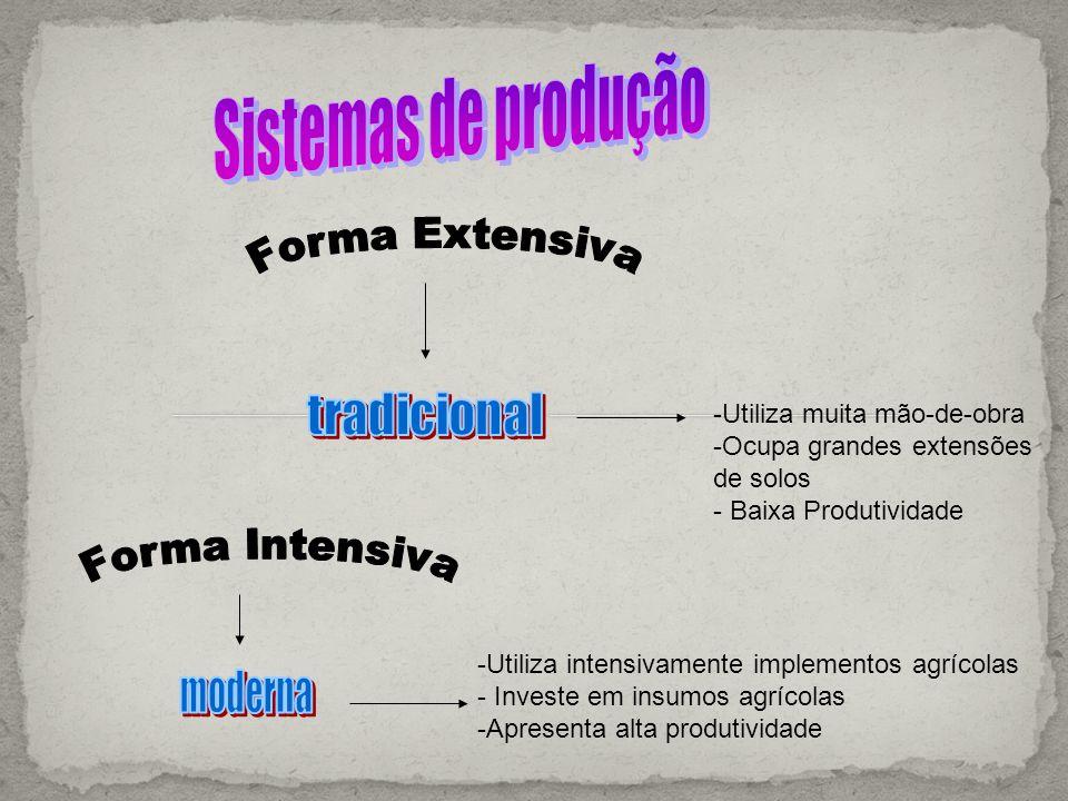 Sistemas de produção Forma Extensiva Forma Intensiva tradicional