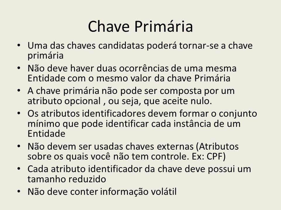 Chave Primária Uma das chaves candidatas poderá tornar-se a chave primária.