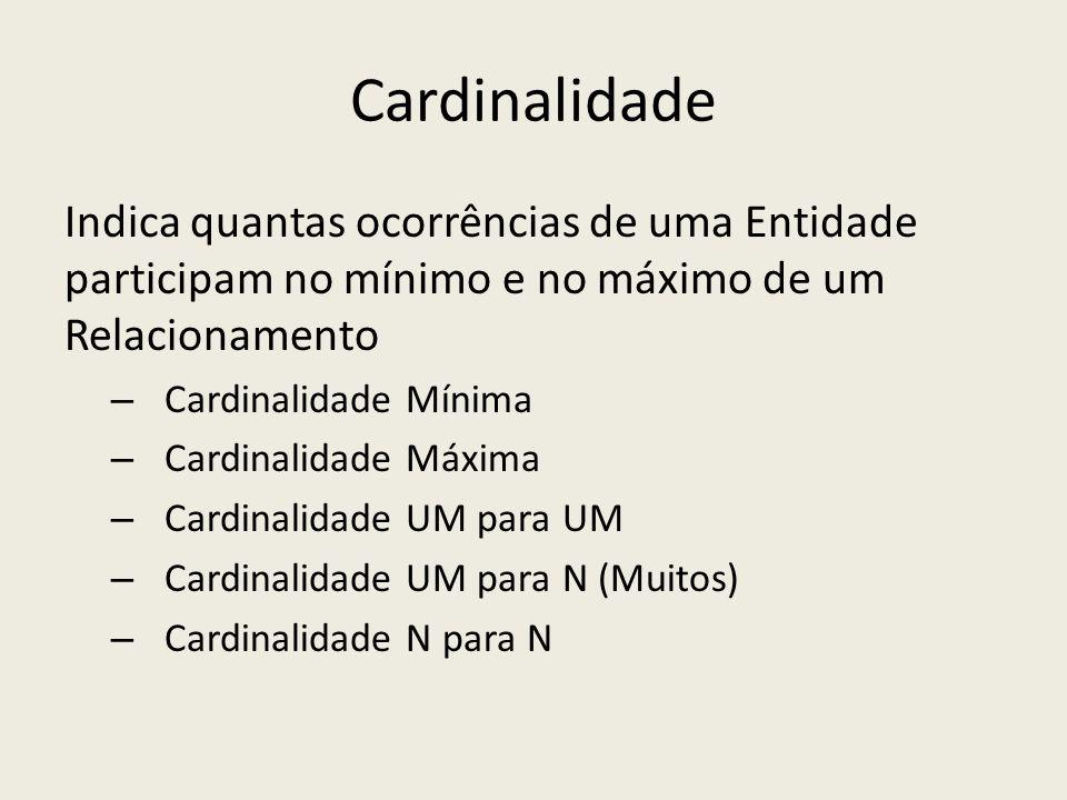 Cardinalidade Indica quantas ocorrências de uma Entidade participam no mínimo e no máximo de um Relacionamento.