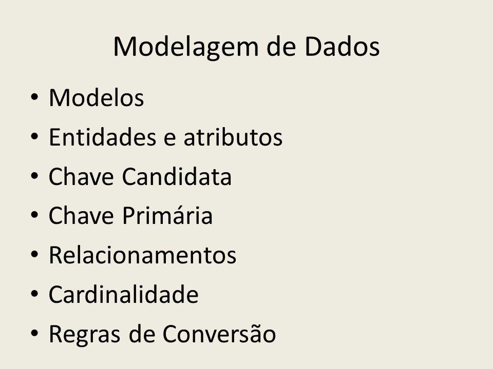 Modelagem de Dados Modelos Entidades e atributos Chave Candidata