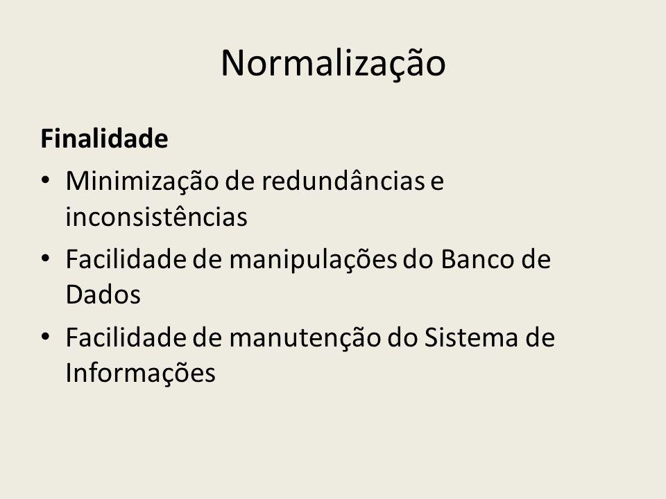Normalização Finalidade Minimização de redundâncias e inconsistências