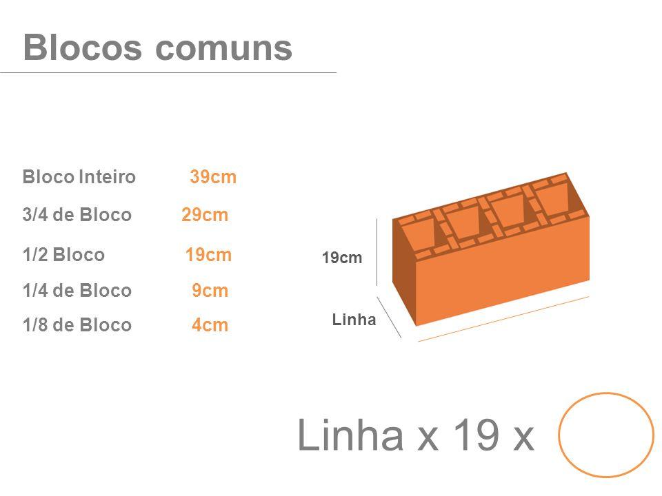 Linha x 19 x Blocos comuns Bloco Inteiro 39cm 3/4 de Bloco 29cm
