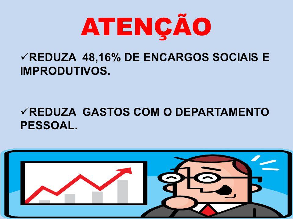 ATENÇÃO REDUZA 48,16% DE ENCARGOS SOCIAIS E IMPRODUTIVOS.