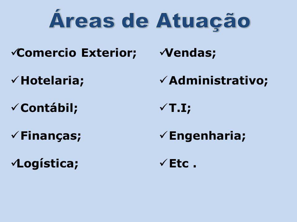 Áreas de Atuação Comercio Exterior; Hotelaria; Contábil; Finanças;