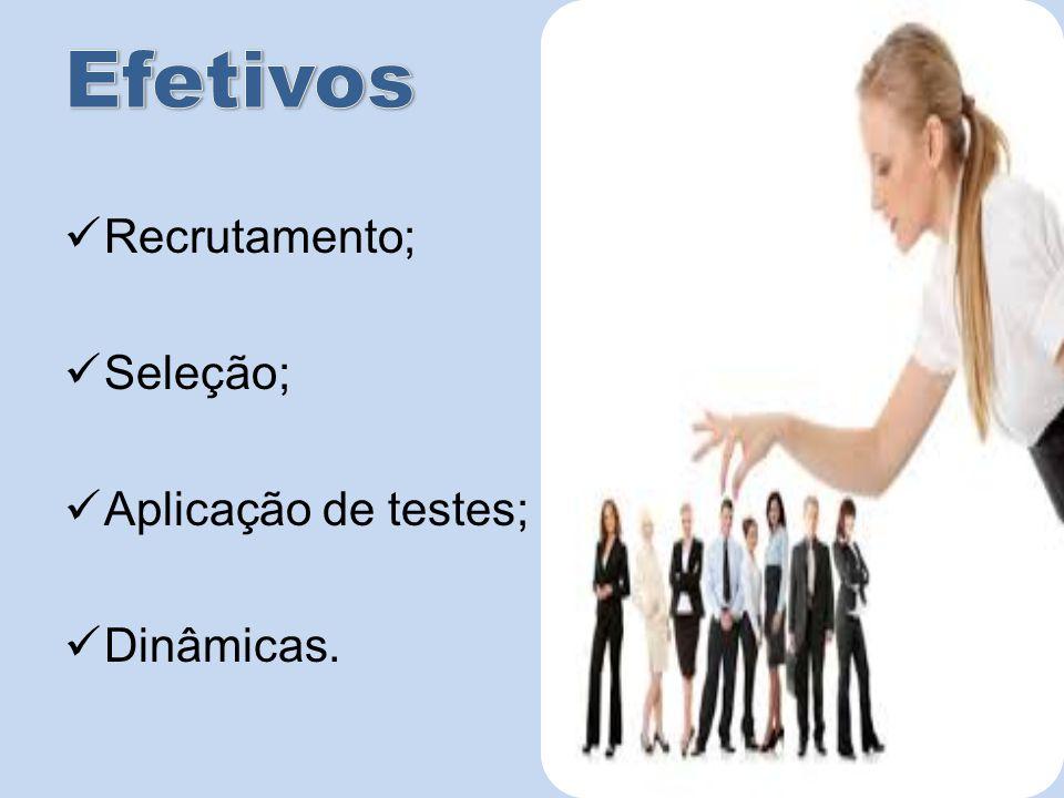 Efetivos Recrutamento; Seleção; Aplicação de testes; Dinâmicas.