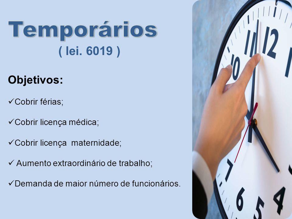 Temporários ( lei. 6019 ) Objetivos: Cobrir férias;