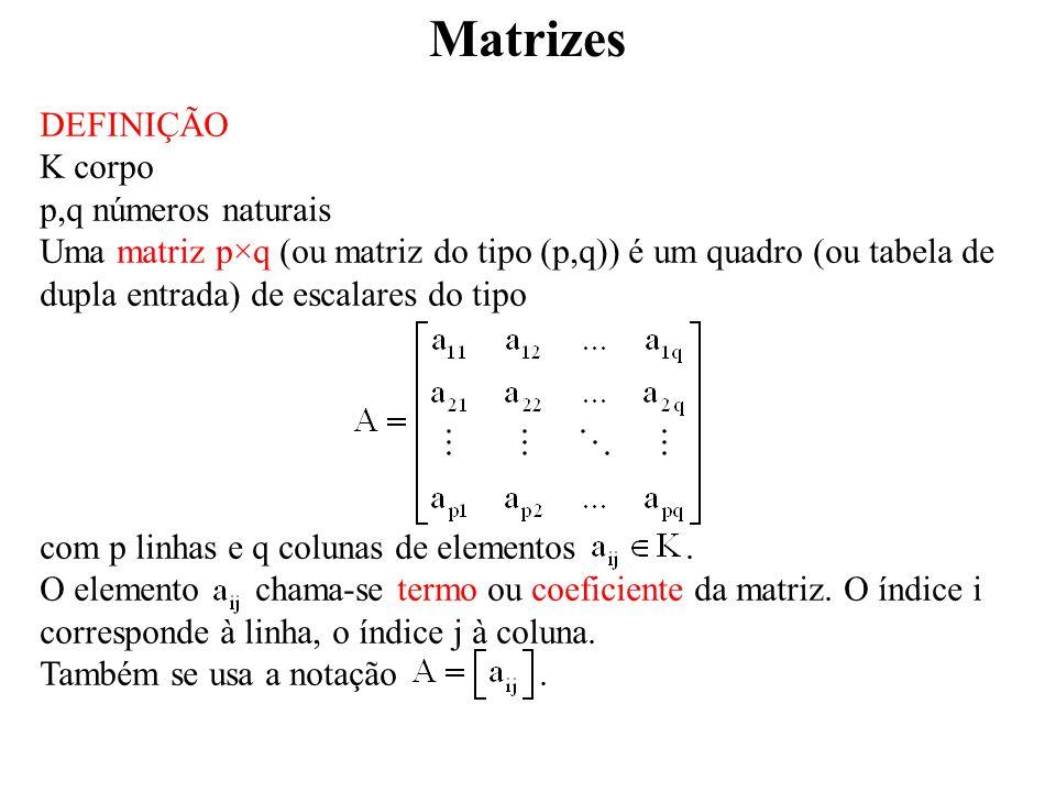 Matrizes DEFINIÇÃO K corpo p,q números naturais