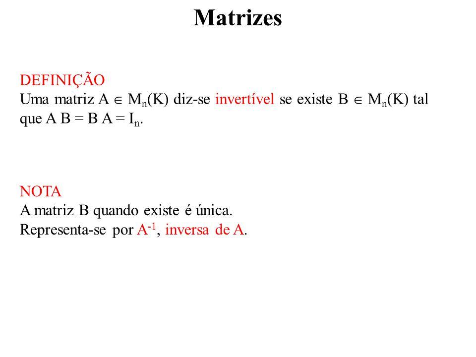 Matrizes DEFINIÇÃO. Uma matriz A  Mn(K) diz-se invertível se existe B  Mn(K) tal que A B = B A = In.