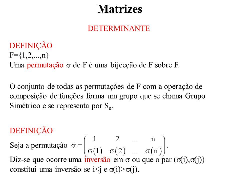 Matrizes DETERMINANTE DEFINIÇÃO F=1,2,...,n}