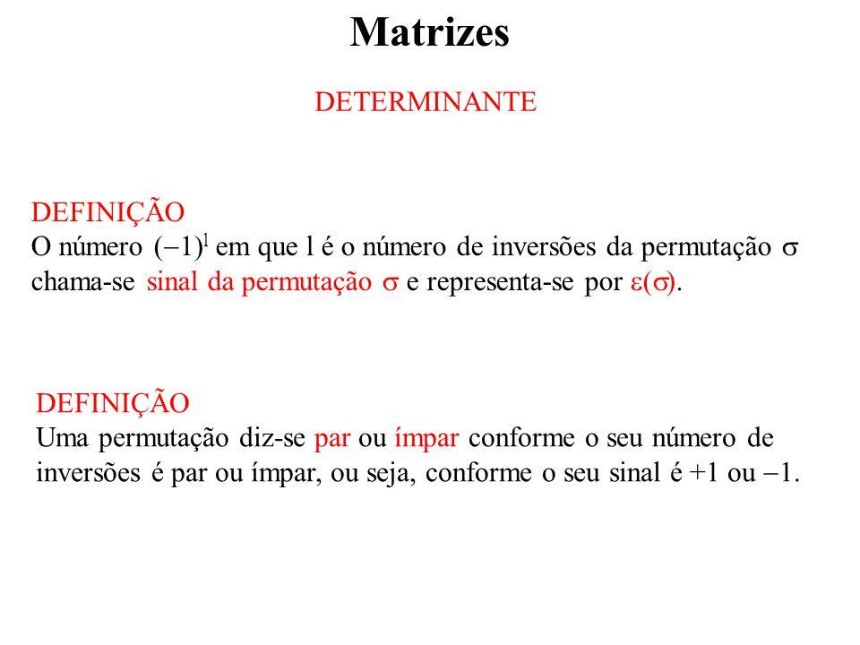 Matrizes DETERMINANTE DEFINIÇÃO