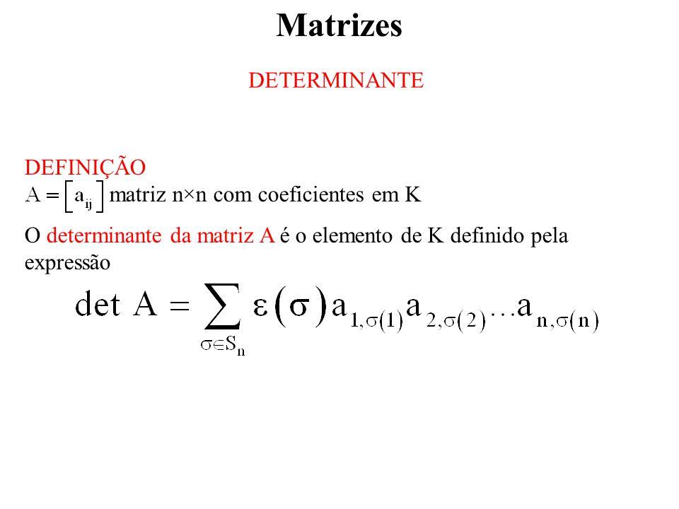 Matrizes DETERMINANTE DEFINIÇÃO matriz n×n com coeficientes em K
